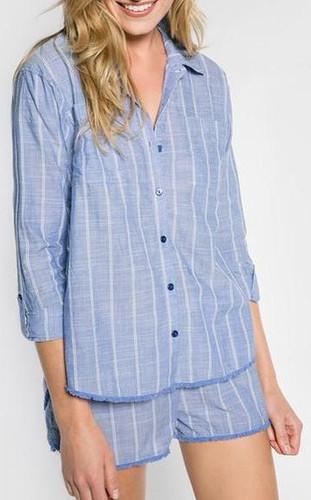 PJ Salvage Feelin' Blue Stripe Button Up Top