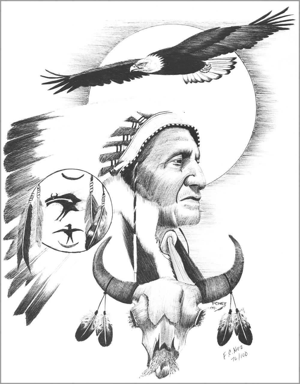 Navajo Chief Soaring Eagle Ink Drawing Print - Navajo ...
