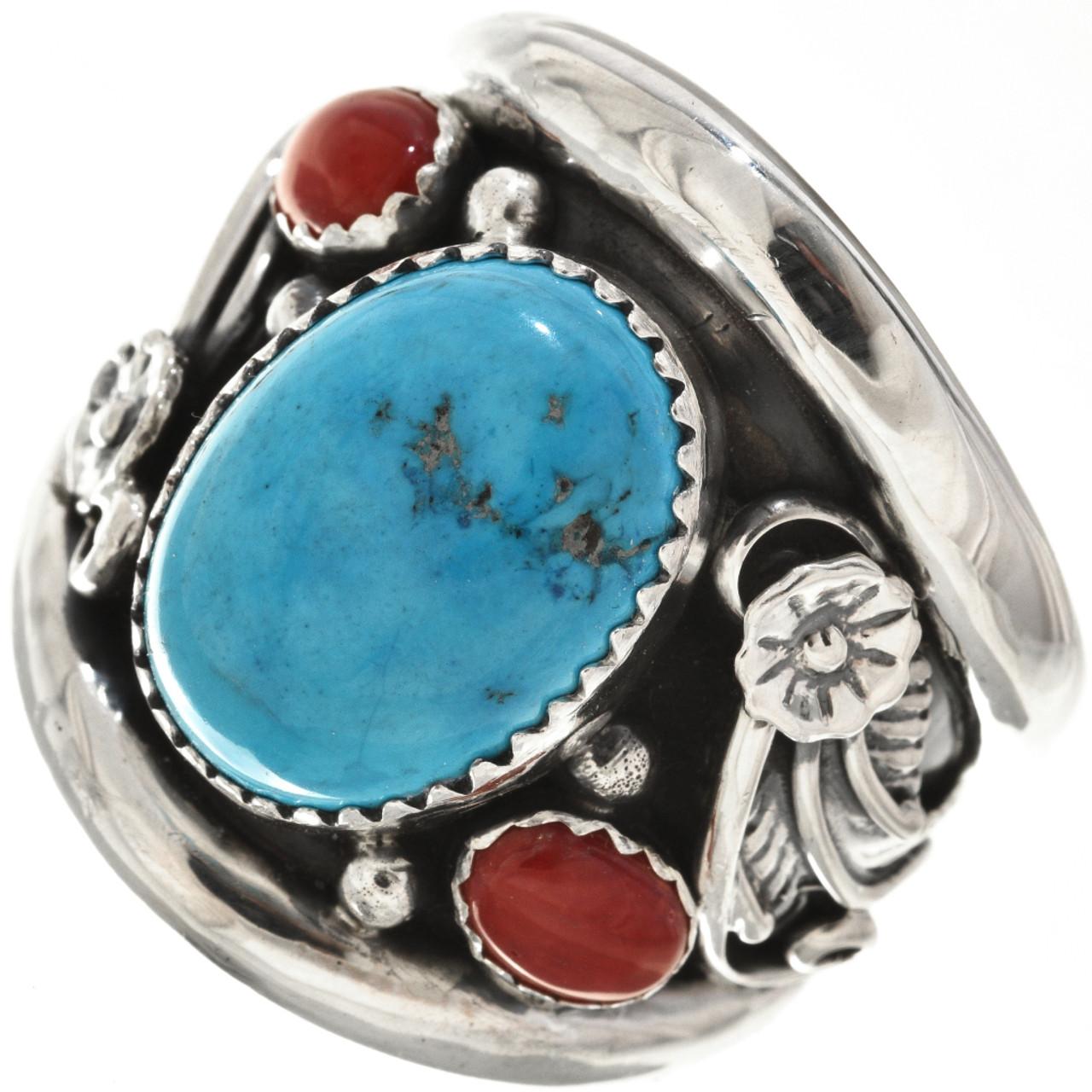 Natural Kingman Turquoise Coral Mens Ring 27411