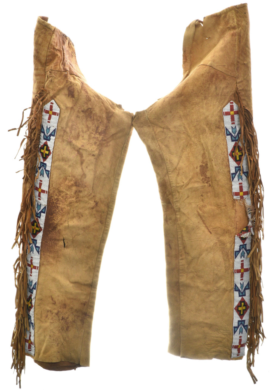 Vintage Indian Beaded Buckskin Leggings 30349