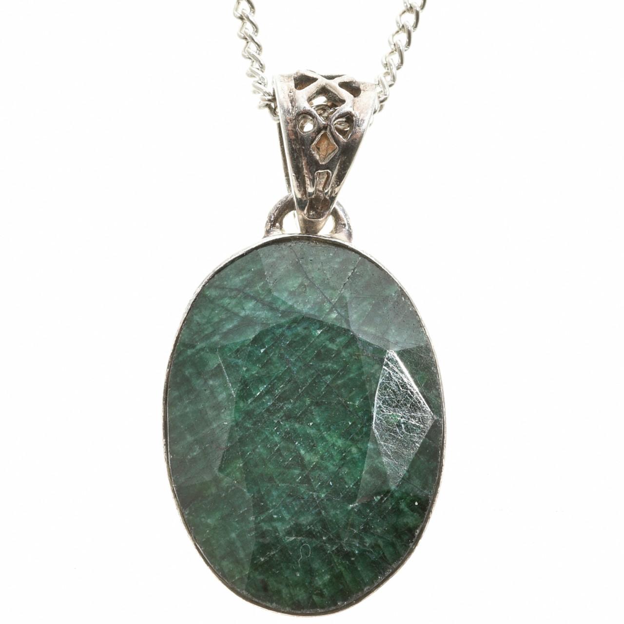 Vintage green sapphire silver pendant 30460 green sapphire silver pendant 1683 carats 30460 aloadofball Choice Image