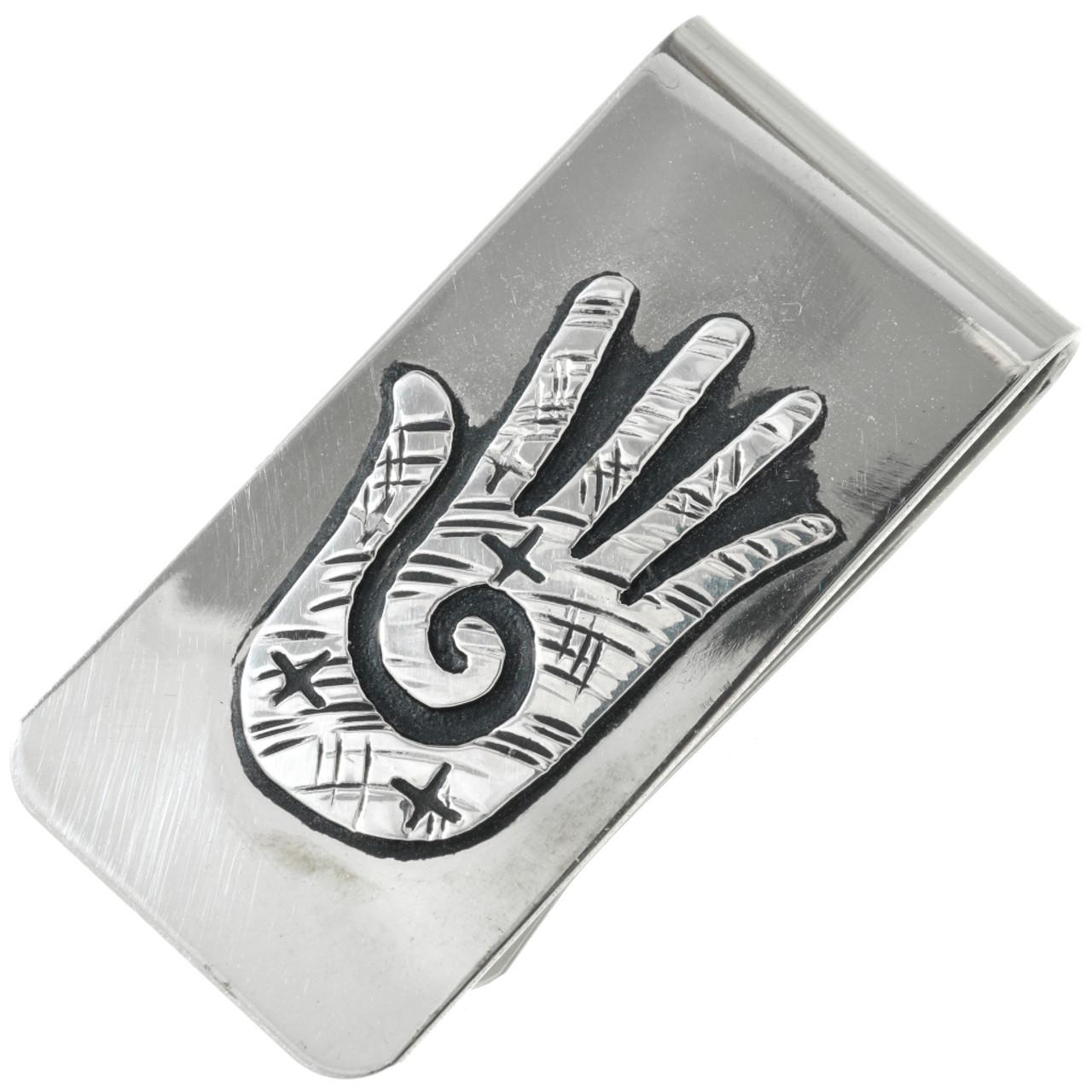 Navajo Healing Hand Silver Money Clip 31313