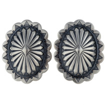 Navajo Silver Concho Earrings 24424