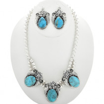 Navajo Blue Turquoise Necklace Set 25497
