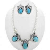 Navajo Blue Turquoise Necklace Set 25497