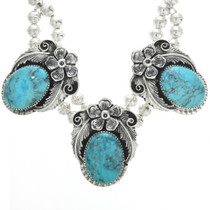 Blue Turquoise Silver Navajo Necklace 25497
