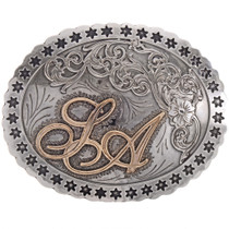 Silver Gold Rodeo Trophy Belt Buckle 22104