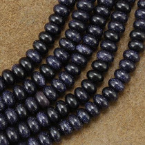 5mm by 8mm Blue Goldstone Rondel Beads 16 inch Strand