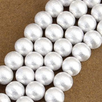 14mm Silver Findings Round Brush Finished Bali Beads 8-1/4 inch Long Strand 0115