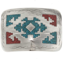 Turquoise Coral Belt Buckle 25155