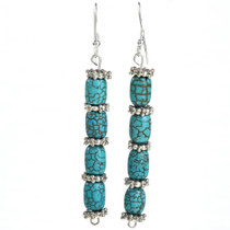 Turquoise Silver Navajo Line Earrings 21927