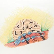 """Original """"Basket Necklace Blanket"""" Navajo Pen & Colored Pencil Sketch by Nez"""