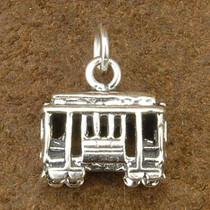 Sterling Silver Cable Car Charm Bracelet Pendant Necklace