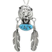 Turquoise Silver Bear Pendant 22654