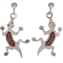 Coral Inlaid Silver Lizard Earrings 12475