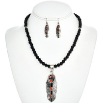 Inlaid Onyx Pendant Bead Necklace Set 12760
