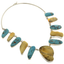 Vintage Turquoise Amber Silver Necklace 25579