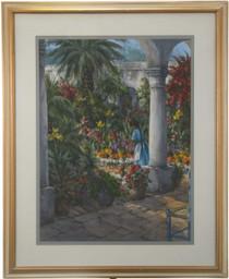 Hacienda Garden Watercolor Painting 27141