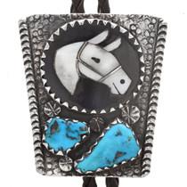 Inlaid Horse Zuni Bolo Tie 24184