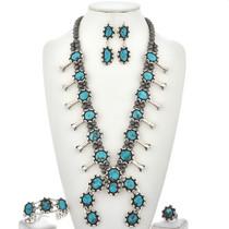 Turquoise Squash Blossom Necklace Set  23816