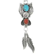 Turquoise Coral Navajo Y Necklace 24776