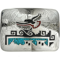 Eagle Turquoise Coral Shell Belt Buckle 19609