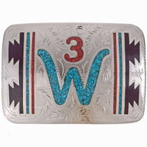 Turquoise Belt Buckle Silver Ranch Logo 24555