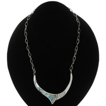 Turquoise Opal Inlaid Silver Necklace 15152