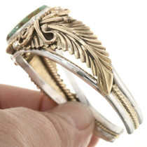 Southwest Gold Silver Turquoise Cuff 17624