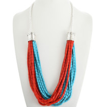 Turquoise Coral Sterling Navajo Necklace 20796