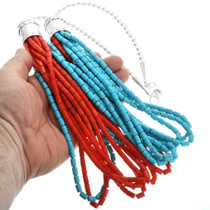 Multi-Strand Turquoise Coral Southwest Necklace 20796