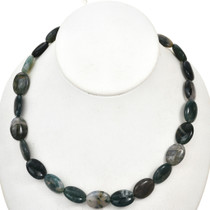 13mm by 17mm Moss Agate Beads 16 inch Strand