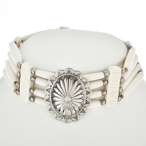 Indian Silver Concho Bone Choker 15244
