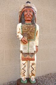 Cigar Store Indian Chief Carved Wooden Indian by Frank Gallagher 3 feet tall