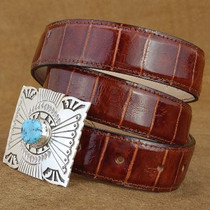 "Alligator Belt Cognac Leather Belt 1.25"" width - Tapered"