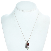Faceted Garnet Inlaid Opal Silver Pendant 17057