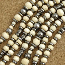 Wholesale Lot of 12 4mm to 8mm Graduated Bone and Antiqued Brass Bali Bead Strands