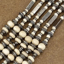 Wholesale Lot of 12 4mm to 9mm Graduated Bone and Antiqued Brass Bali Bead Strands