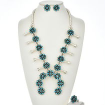 Turquoise Squash Blossom Necklace Set 29071