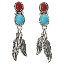 Turquoise Coral Indian Feather Earrings