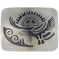 Overlaid silver Southwest Belt Buckle 23357