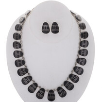 Inlaid Black Onyx Silver Necklace Set 27990