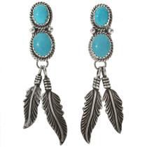 Turquoise Silver Feather Post Dangle Earrings