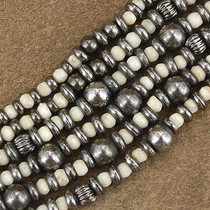 Wholesale Lot of 12 2mm to 8mm Graduated Bone and Antiqued Brass Bali Bead Strands