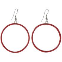 Inlaid Silver Red Coral Hoop Earrings 19483