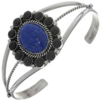 Lapis Onyx Navajo Silver Bracelet 27396