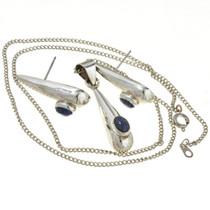 Silver Teardrop Pendant Earring Set 14566