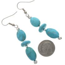 Blue Turquoise Silver Dangle Earrings 28275