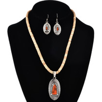Apple Coral Heishi Necklace Set 29631