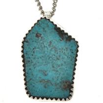 Natural Turquoise Navajo Pendant 26676